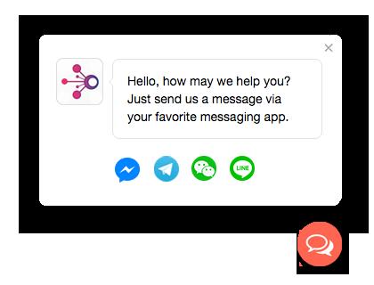 Message us button for Facebook Messenger, WhatsApp, WeChat, Line | A